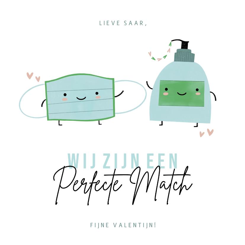 Valentijnskaarten - Lieve valentijnskaart perfecte match mondkapje en handzeep