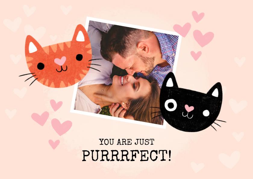 Valentijnskaarten - Lieve valentijnskaart purrrfect met katten, hartjes en foto