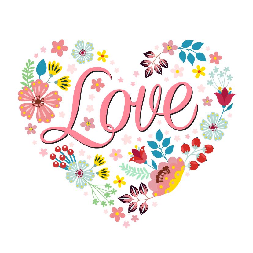 Valentijnskaarten - Love valentijnskaart met bloemen en planten