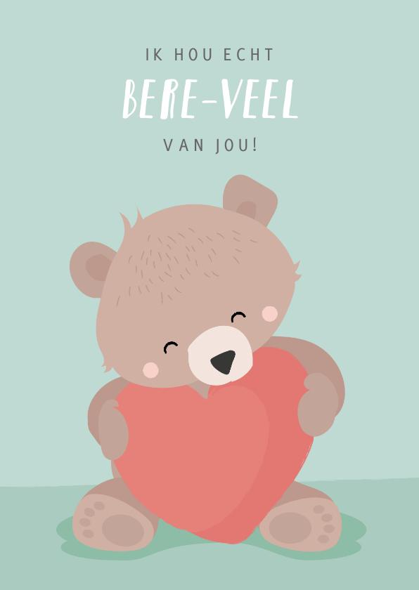 Valentijnskaarten - Mintgroene valentijnskaart illustratie van beertje met hart
