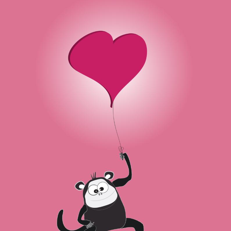 Valentijnskaarten - Mo Card - aap met hartjesballon