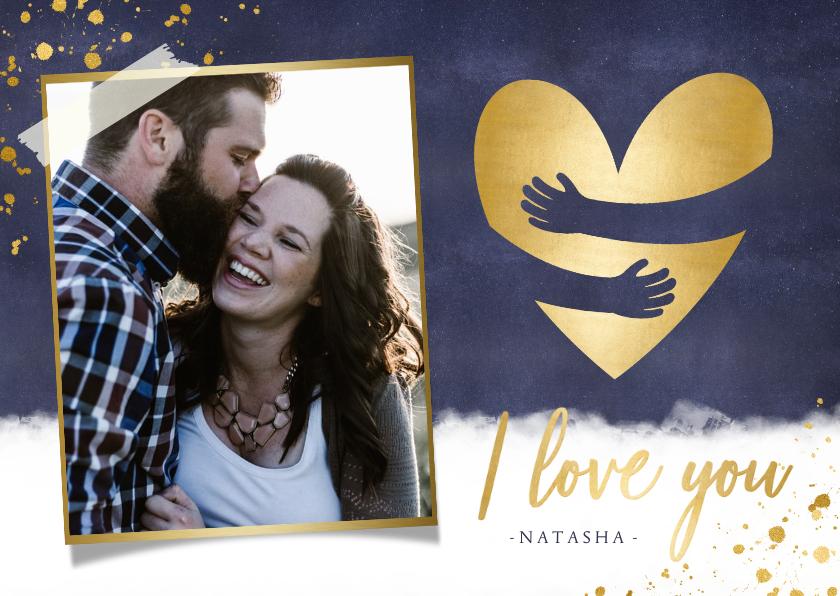 Valentijnskaarten - Originele valentijnskaart man - gouden knuffel hart en foto
