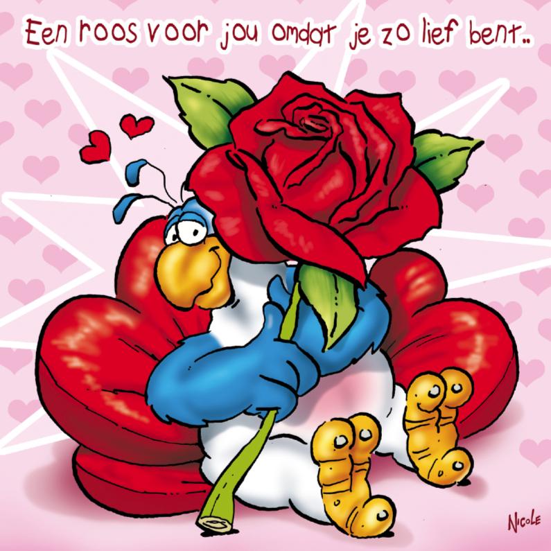 Valentijnskaarten - rocco valentijn 4 papegaai grote roos
