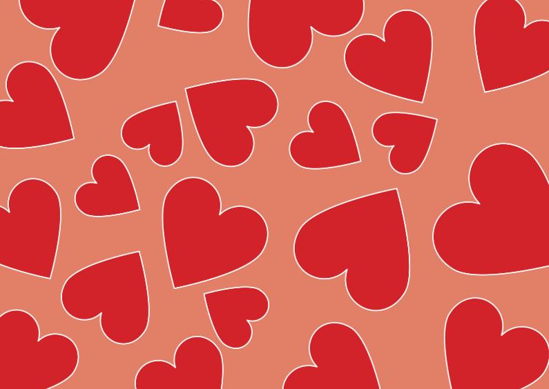 Valentijnskaarten - Rode hartjes op rode achtergrond