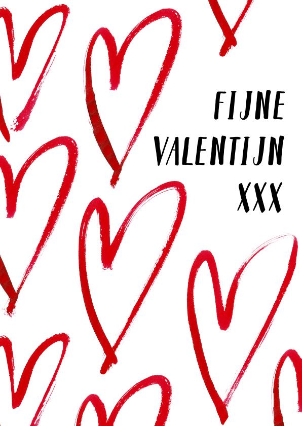 Valentijnskaarten - Romantische valentijnskaart met grote harten
