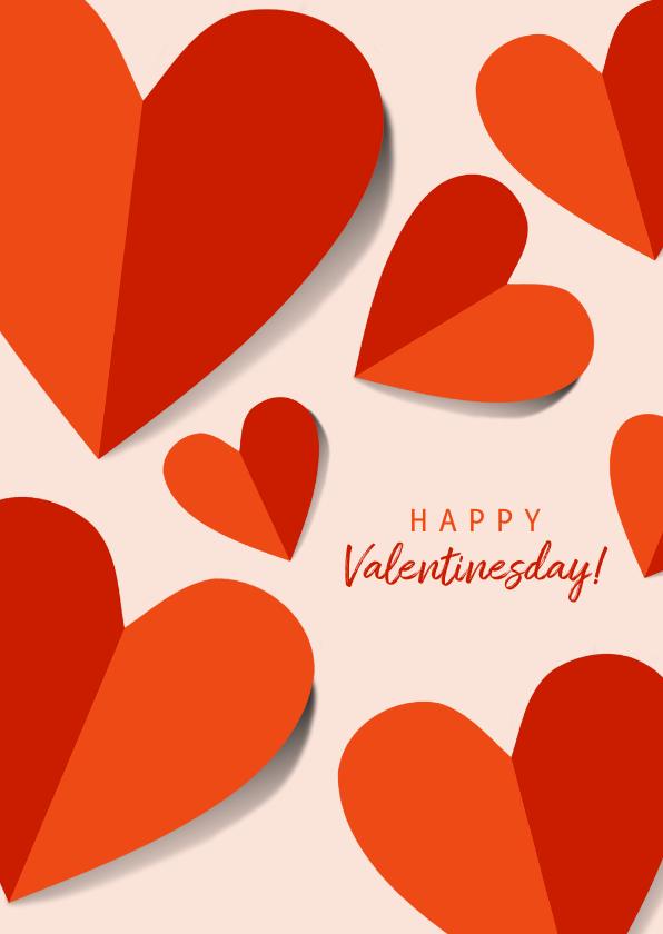 Valentijnskaarten - Romantische valentijnskaart met rood oranje hartjes