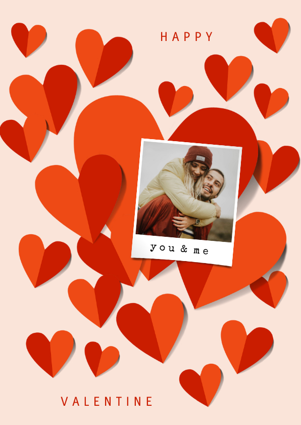 Valentijnskaarten - Romantische valentijnskaart met veel hartjes en foto