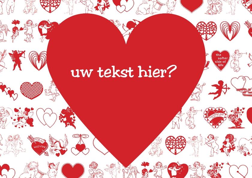 Valentijnskaarten - Rood hart op kleine symbooltjes
