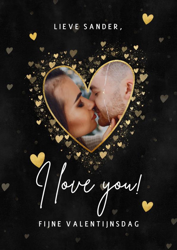 Valentijnskaarten - Stijlvolle Valentijnskaart gouden hartjes, foto 'I love you'