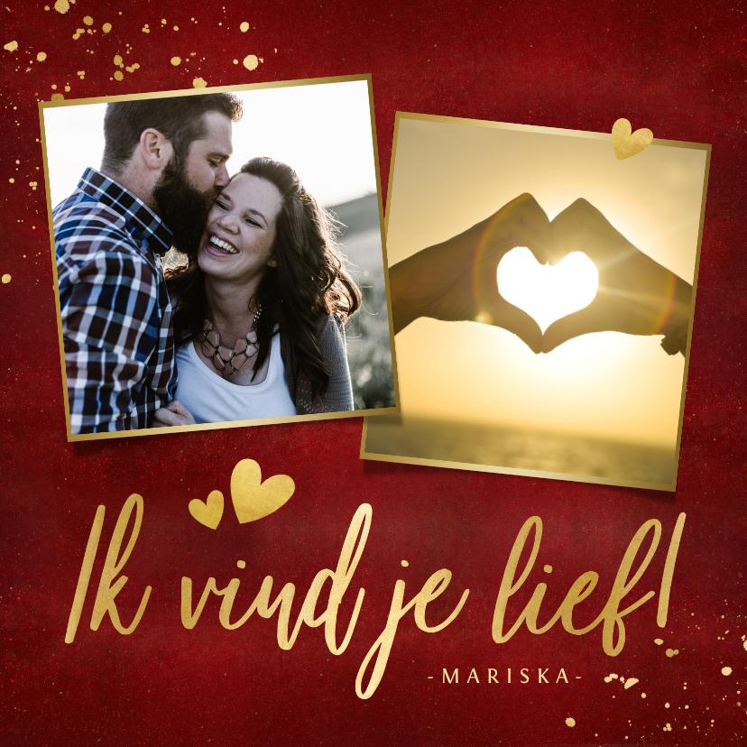 Valentijnskaarten - Stijlvolle valentijnskaart met 2 eigen foto's en goud