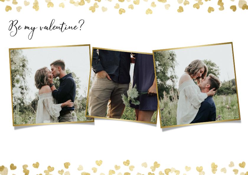 Valentijnskaarten - Stijlvolle valentijnskaart  met foto's en gouden hartjes