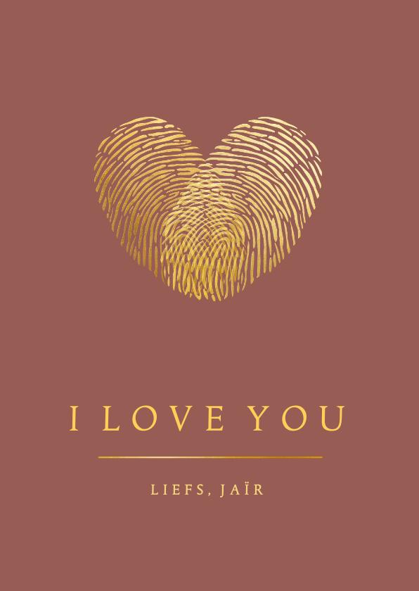 Valentijnskaarten - Stijlvolle Valentijnskaart met gouden hart van vingerafdruk