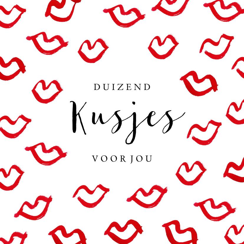 Valentijnskaarten - Stijlvolle valentijnskaart met rode kusjes