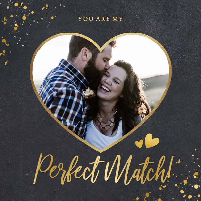 Valentijnskaarten - Stijlvolle zwarte valentijnskaart met gouden hart en foto