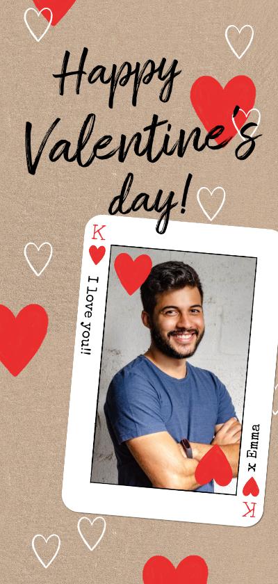 Valentijnskaarten - Stoere valentijnskaart met fotokader van hartenkoning