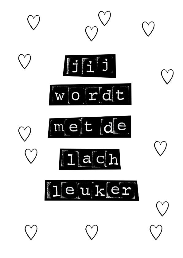 Valentijnskaarten - Typografische valentijnskaart in zwart wit met leuke quote
