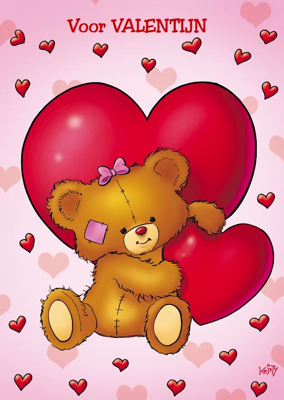 Valentijnskaarten - valentijn 4 beertje met 2 grote harten