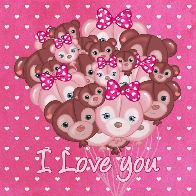 Valentijnskaarten - Valentijn Ballon Beertjes - TJ