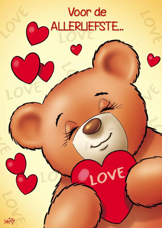 Valentijnskaarten - Valentijn close up beer met hartjes