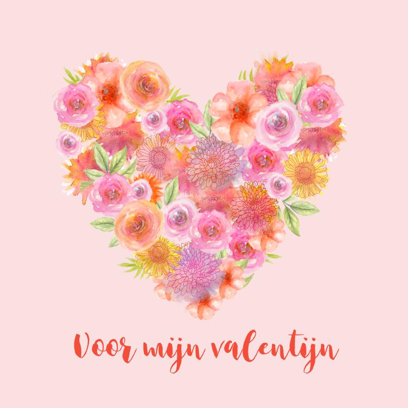 Valentijnskaarten - Valentijn hart bloemen
