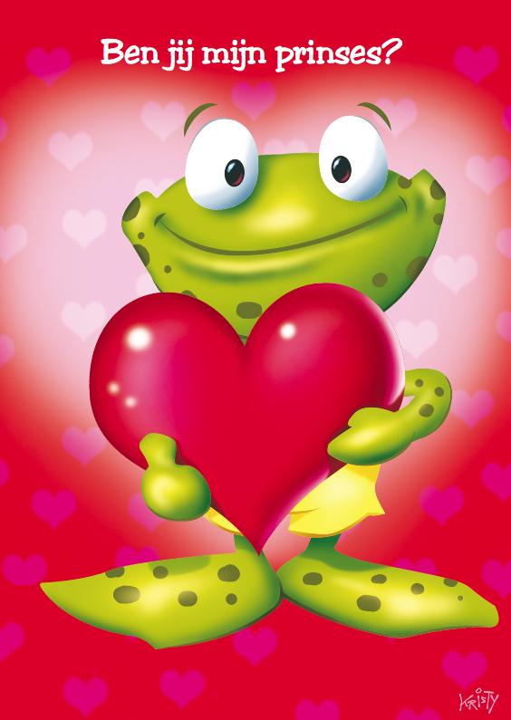 Valentijnskaarten - Valentijn kikker met groot hart