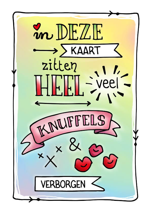 Valentijnskaarten - Valentijn knuffels en kusjes