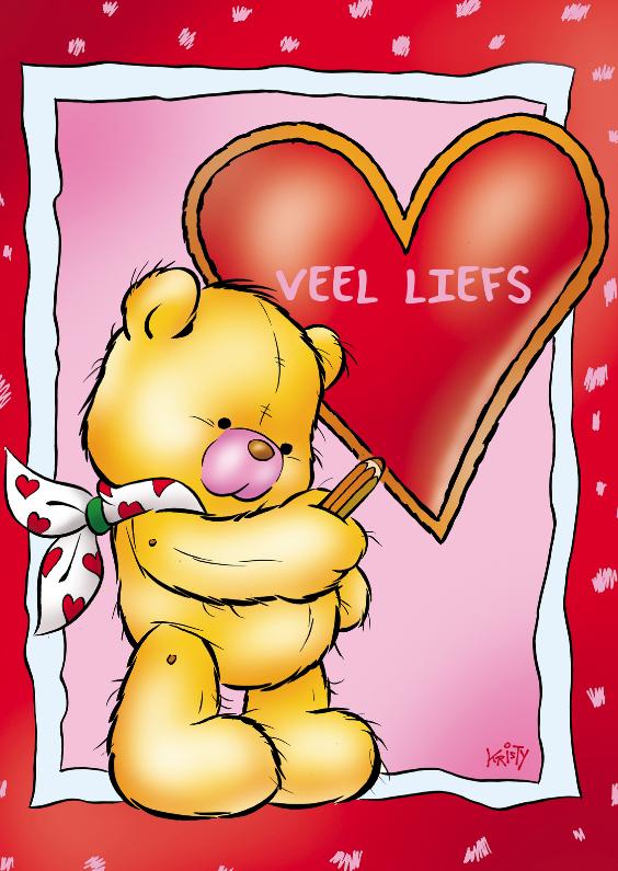 Valentijnskaarten - Valentijn lief beertje met ballonnen