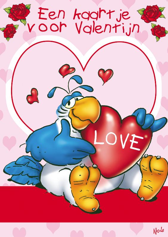 Valentijnskaarten - Valentijn Rocco 2 papegaai hart