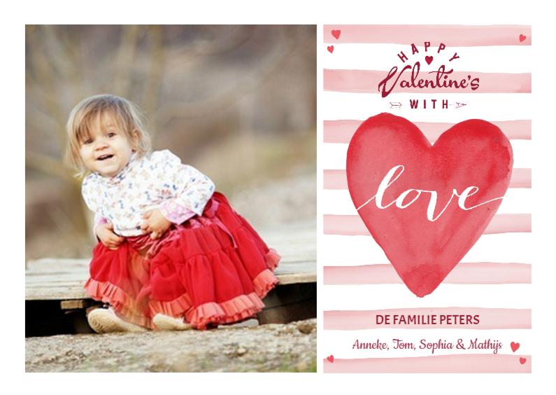 Valentijnskaarten - Valentijns Hart Love Strepen