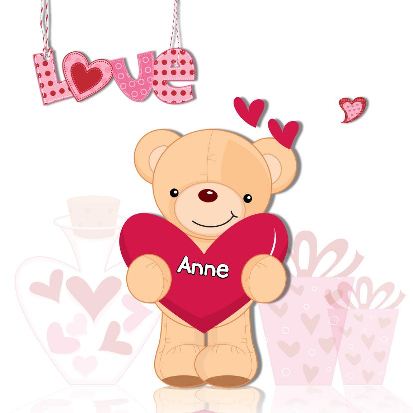 Valentijnskaarten - Valentijnsbeer met hart