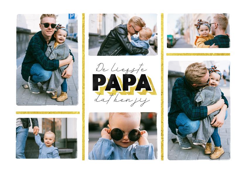 Valentijnskaarten - Valentijnsdag liefste papa fotocollage goud