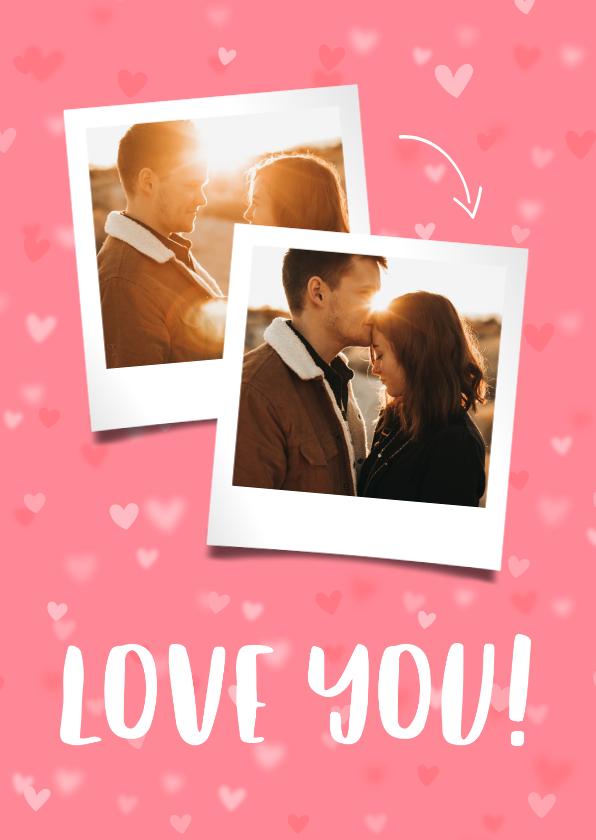 Valentijnskaarten - Valentijnskaart 2 foto's hartjes achtergrond