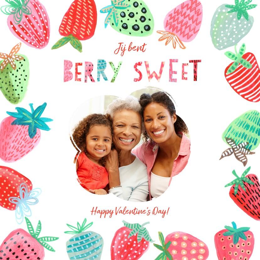 Valentijnskaarten - Valentijnskaart aardbeien berry sweet