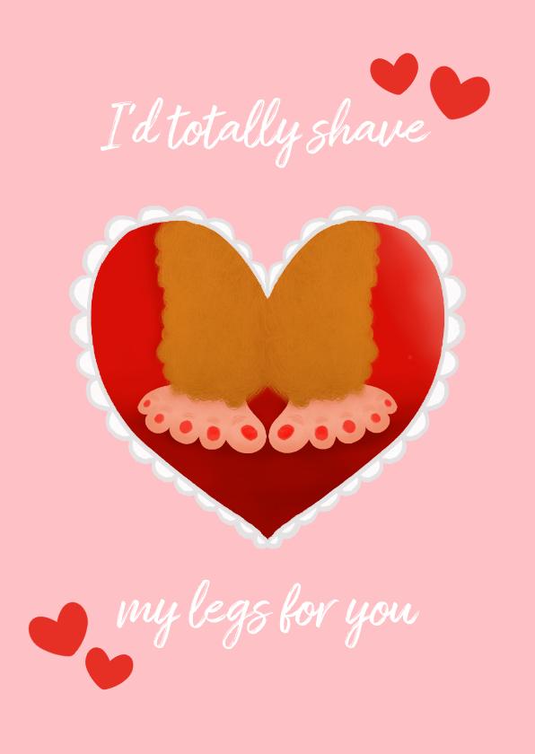 Valentijnskaarten - Valentijnskaart Bigfoot harige benen en hartjes