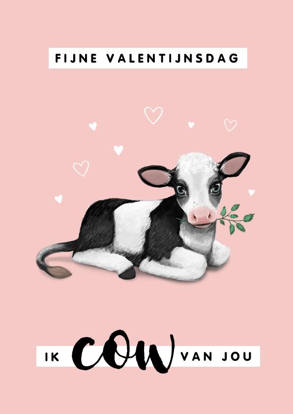 Valentijnskaarten - Valentijnskaart cow van jou koe liefde hartjes foto