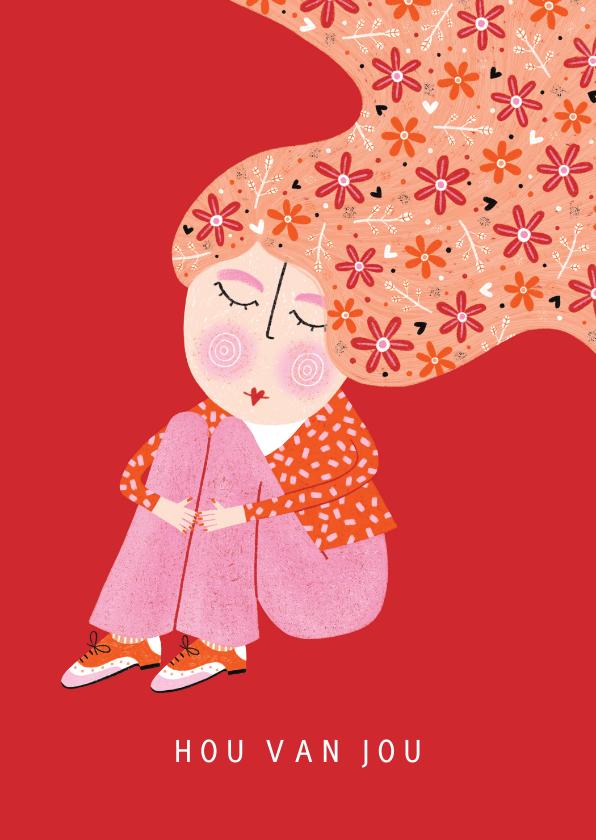 Valentijnskaarten - valentijnskaart dame bloemen in het haar rood