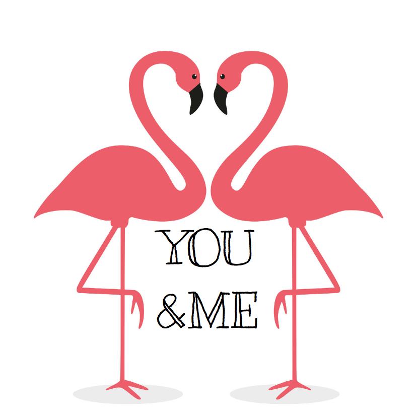 Valentijnskaarten - Valentijnskaart Flamingo You&Me