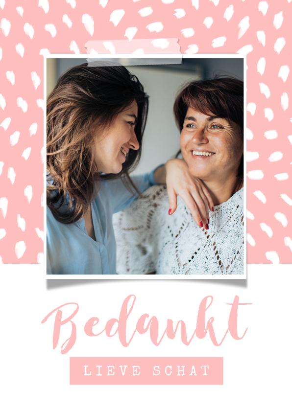Valentijnskaarten - Valentijnskaart foto bedankt roze patroon