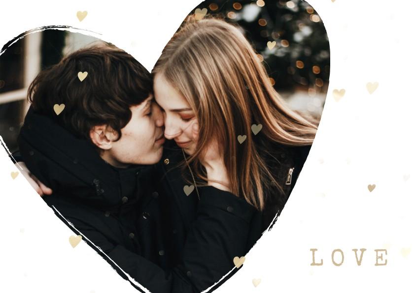 Valentijnskaarten - Valentijnskaart foto in hart groot met gouden hartjes