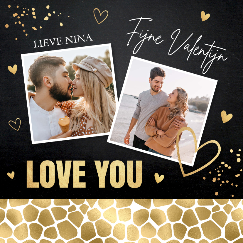 Valentijnskaarten - Valentijnskaart foto zwart panter goudlook