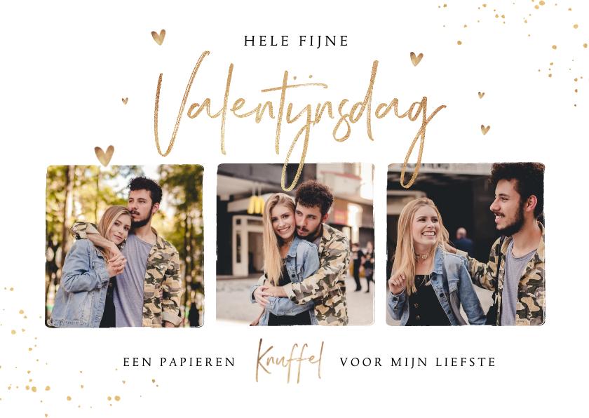 Valentijnskaarten - Valentijnskaart fotocollage hartjes goud spetters