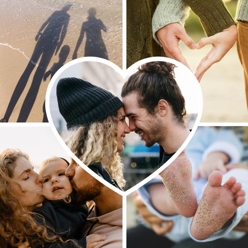 Valentijnskaarten - Valentijnskaart fotocollage met hartje en 5 eigen foto's