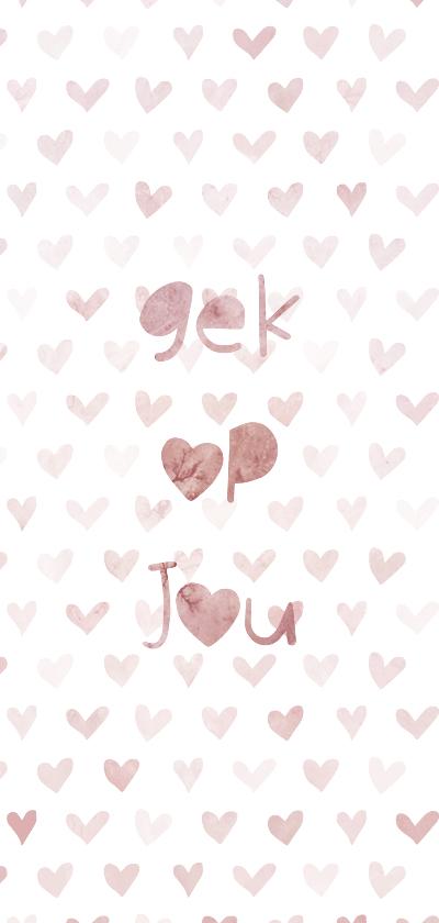 Valentijnskaarten - Valentijnskaart 'gek op jou' met geïllustreerde hartjes