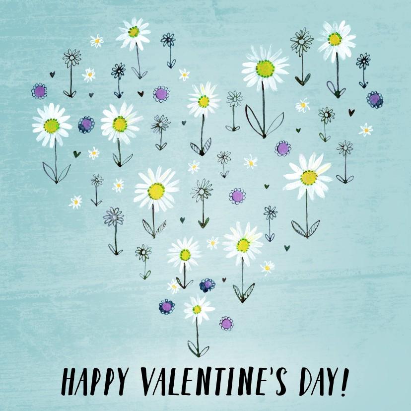 Valentijnskaarten - Valentijnskaart geschilderde bloemen