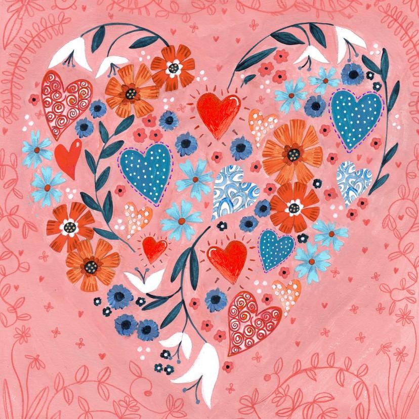 Valentijnskaarten - Valentijnskaart geschilderde hartjes en bloemen