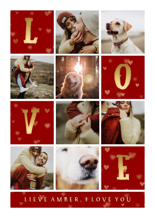Valentijnskaarten - Valentijnskaart gouden LOVE met vakjes en foto's