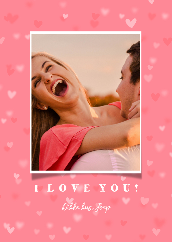 Valentijnskaarten - Valentijnskaart grote foto met hartjes achtergrond