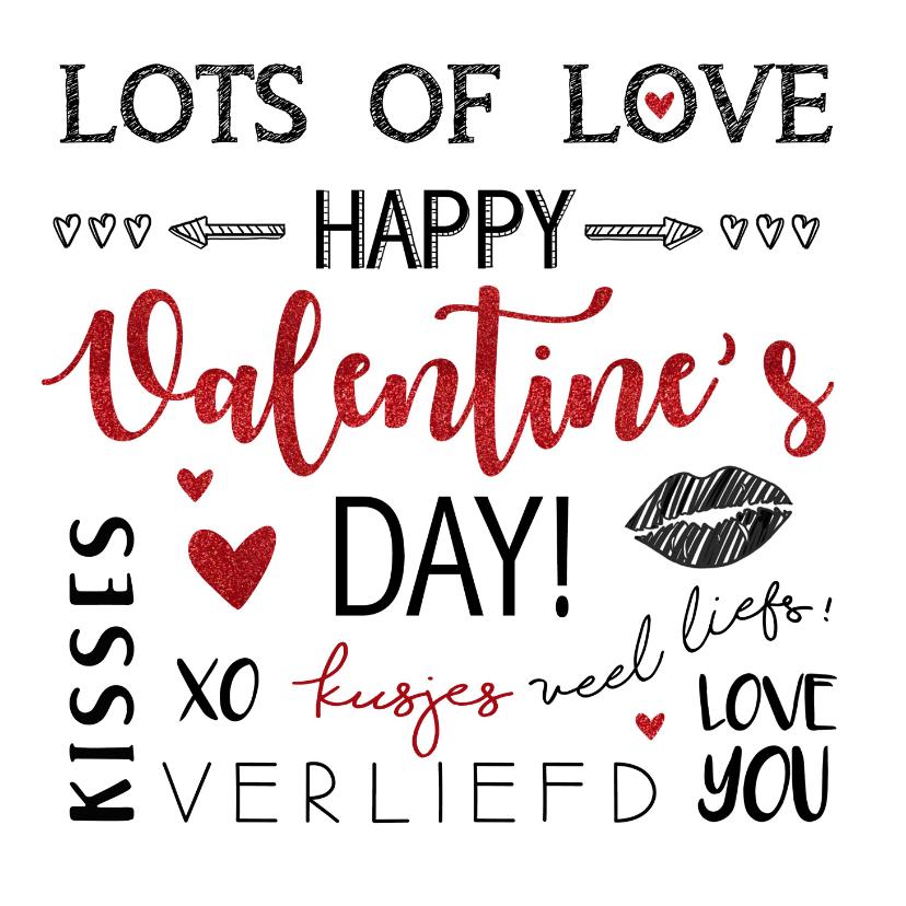 Valentijnskaarten - Valentijnskaart handlettering rood