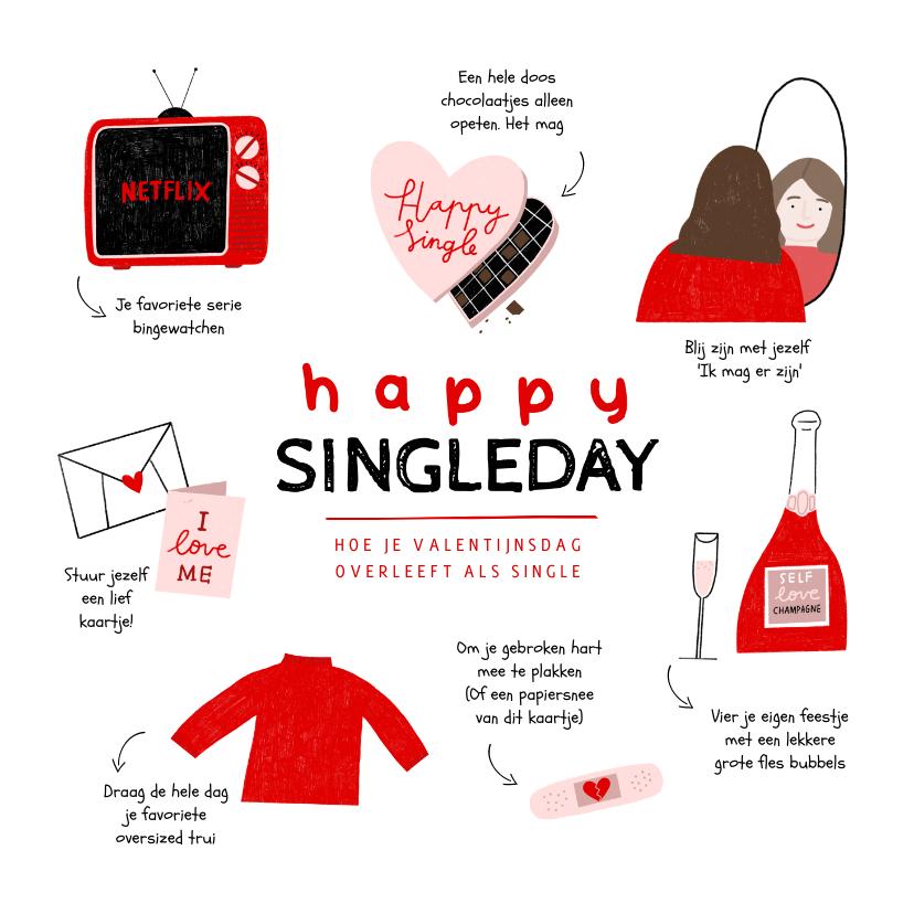 Valentijnskaarten - Valentijnskaart happy singleday tips illustratie rood roze