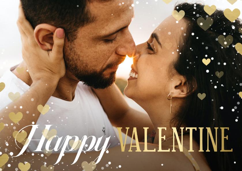 Valentijnskaarten - Valentijnskaart Happy Valentine met hartjeskader